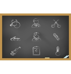 blackboard medical icons vector image