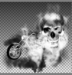 chopper motorbike with skull in smoke vector image