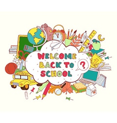 Cloud frame greeting card welcome back to school vector image