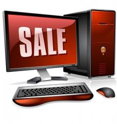 desktop computer vector image vector image
