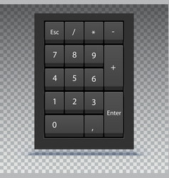 numeric keypad close up view calculator numpad vector image