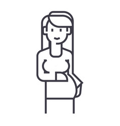 pregnant woman sign line icon sign vector image vector image