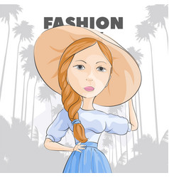pretty girl in a hat on a background of palms vector image vector image
