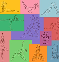Set of isolated yoga poses vector image