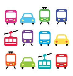 Transport travel icons set isolated vector image vector image