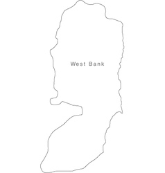 Black White West Bank Outline Map vector image vector image
