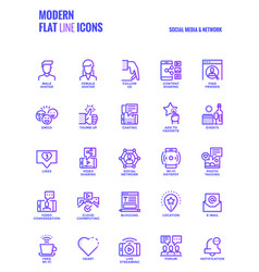 flat line gradient icons design-social media amp vector image