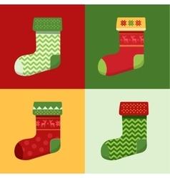 Flat winter Christmas Socks set vector image