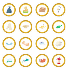 garbage set icon circle vector image vector image