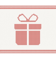 Knitted gift box vector image