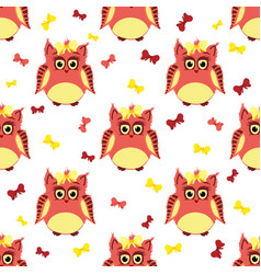 Red and yellow owls with bows vector