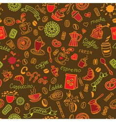 Seamless color doodles background with coffee vector image vector image