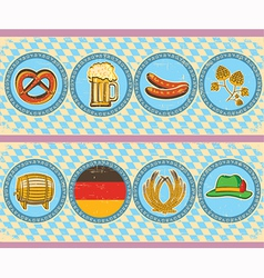 vintage beer elements with oktoberfest symbol on vector image vector image
