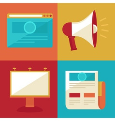 advertising and promotion concepts and icons in fl vector image vector image