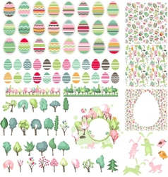 Big collection with easter eggs and spring trees vector