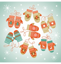 Card design with Christmas mittens vector image vector image