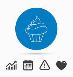 cupcake icon dessert cake sign vector image vector image