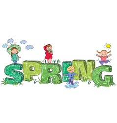 Kids on the letters spring vector image