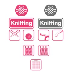 knit icons vector image vector image