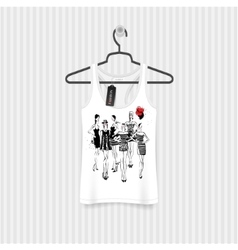 Print for T-shirt Model Girls hand drawing vector image