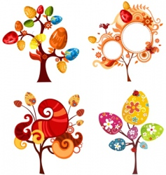 Easter tree set vector image vector image