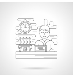 Hotel booking flat line icon vector image
