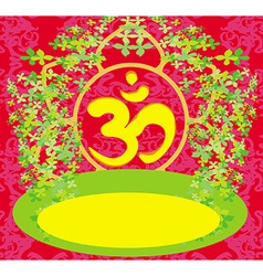 om aum symbol on a red background vector image
