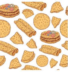 pancakes seamless pattern doodle cartoon ornament vector image