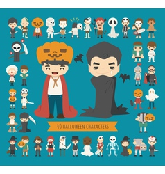 Set of 40 halloween costume characters vector image
