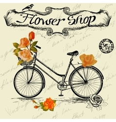 Vintage poster for flower shop design with bicycle vector image