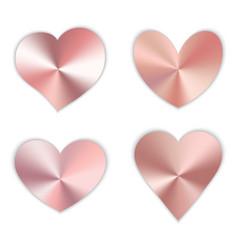 A set pink hearts vector