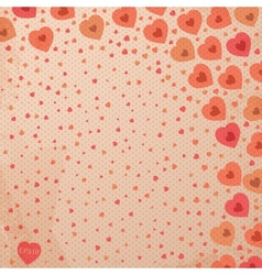 Abstract vintage background with red hearts vector image