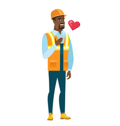 african-american builder holding hand on his chest vector image