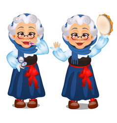 Animated old lady lipstick dances vector