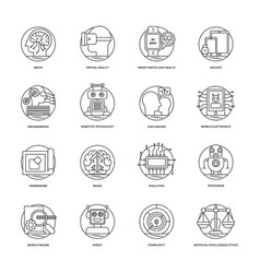 artificial intelligence line icons 1 vector image