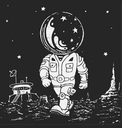 Astronaut going on a planet vector
