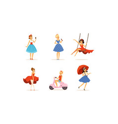 beautiful young women dressed retro style clothes vector image