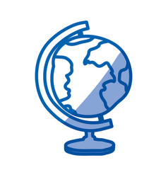 Blue shading silhouette of hand drawn earth globe vector