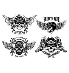 Born to ride set of biker skulls with wings vector