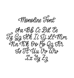 Calligraphy monoline font on white background vector