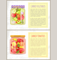 Canned tomatoes pickled vegetables mix glass jars vector