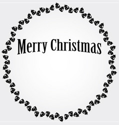 christmas circular frame with black bells vector image