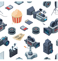 Cinematograph isometric elements pattern or vector