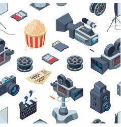 Cinematograph isometric elements pattern vector