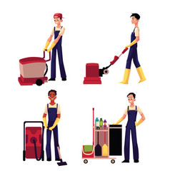 Cleaning service boy with vacuum cleaner floor vector