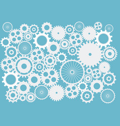 Cogs and gears abstract background in blue on vector