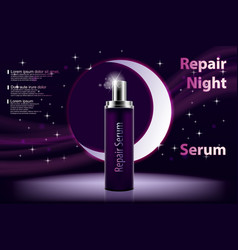 Cosmetic moisturizing product shiny violet night vector
