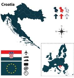 Croatia and European Union map vector image vector image