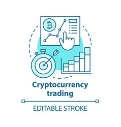 Cryptocurrency trading blue concept icon vector