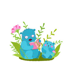 Cute bear family reading book studying vector